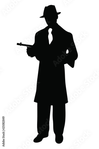 Gangstar silhouette with tommy gun