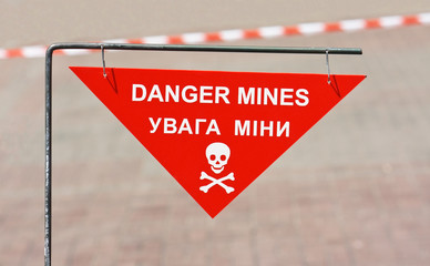 Warning sign on mined area