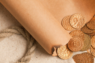 treasure map and golden coins