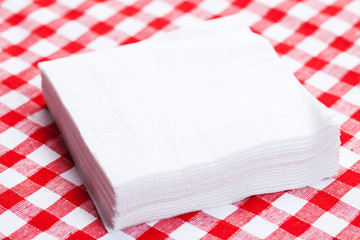 paper napkins on picnic tablecloth