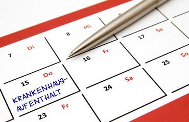 Krankenhausaufenthalt Kalender