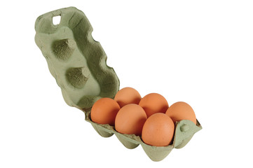 Six pack eggs. Isolated