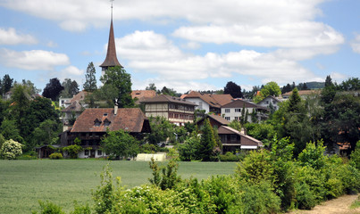 village dans l'oberland Bernois vu d'un train