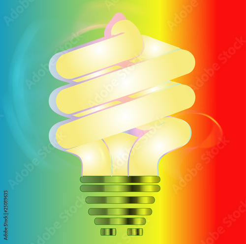 Energy saving light bulb illustration on colorful background
