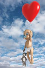 Adorabile bimbo che vola con un palloncino