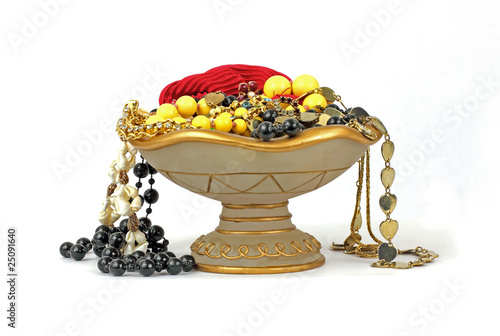 Costume Jewelry in Decorative Dish