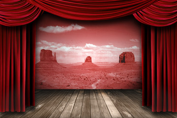 Red Theater Drapes With Desert Landscape Backdrop