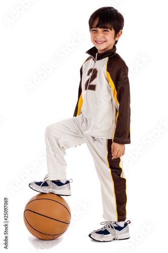 Junior boy basket ball player