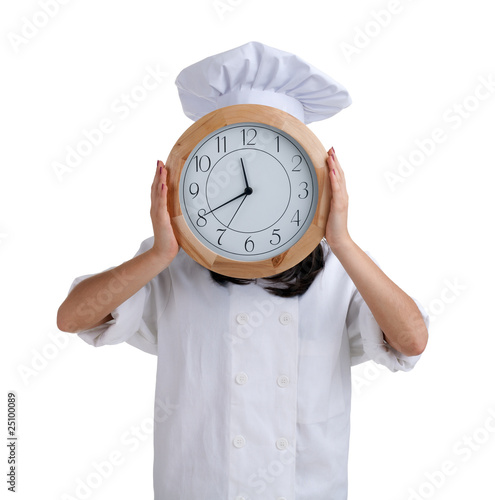 female cook in uniform and hat with clock head