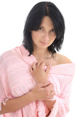 attractive brunette in pink sweater