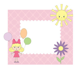 Vector photo frame for girl