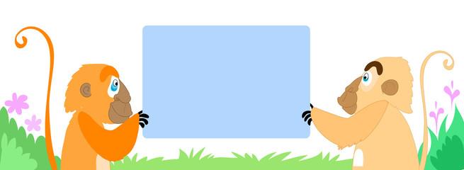 Coppia di scimmie con messaggio vuoto