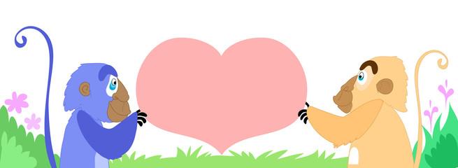 Babbuini con messaggio a forma di cuore
