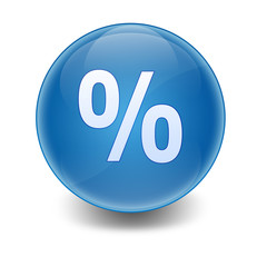 Esfera brillante con simbolo porcentaje