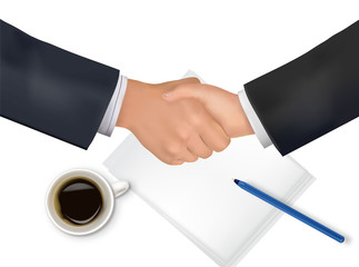 Handshake over paper and pen. Photo-realistic vector.
