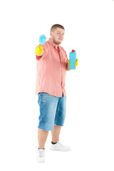 Funny portrait of standing cleaner.