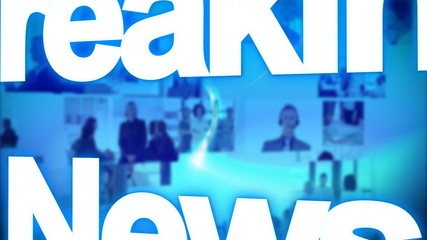 breaking news animation with globe and people in background