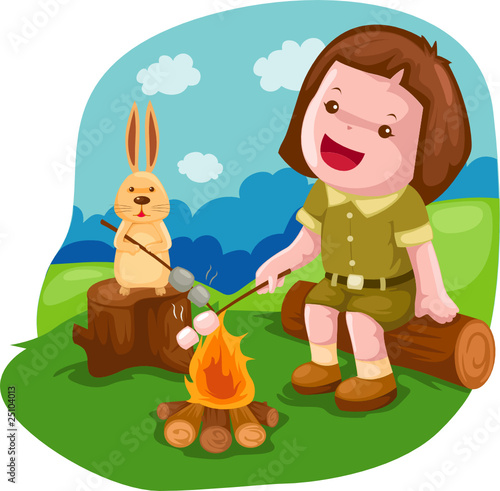 camping girl roasting marshmallow