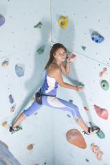 athletic girl climbing