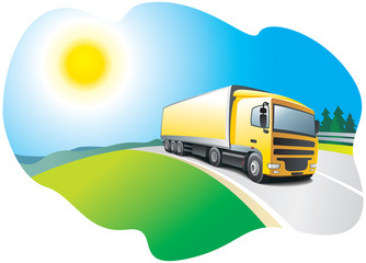 Truck on the road - transport and logistics. Vector