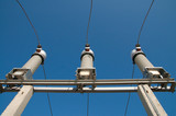 disconnecting switches on high-voltage substation poster
