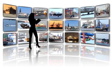 TV Wand mit eigenen Portfolio Bildern mit Schiffen und Hafen