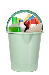 Bucket filled with cleaning industry tools