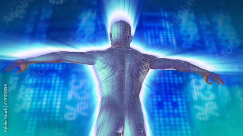 3d animated man with shares on the background