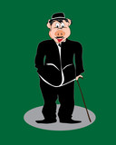 Pig cartoon, comic, imitation of Chaplin, vector poster