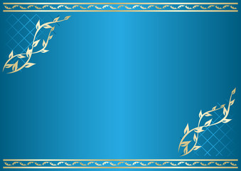 vector floral blue card with gradient