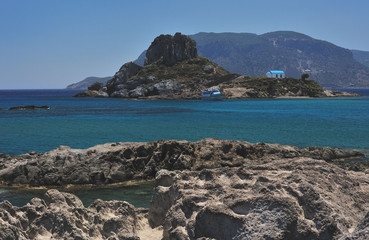 Beautiful small island with a church of Saint Stefanos