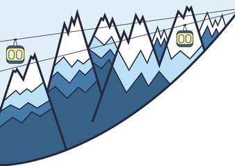 Ski lift vector background with hills