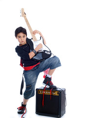 cute boy playing guitar isolated on white background