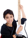 Fototapety happy smiling child playing guitar