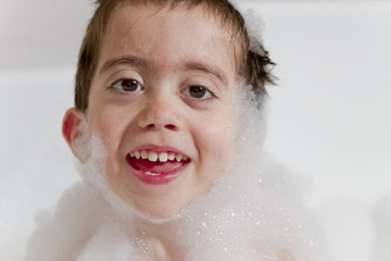 Close up bubble child in a bathtub