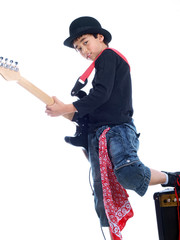 smiling child with electric guitar