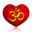 3D - Golden OM sign on red heart