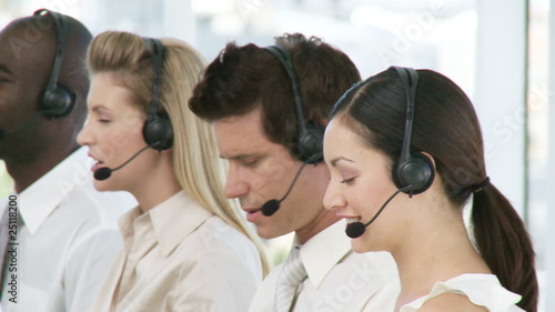 presentation of a team working in a call center