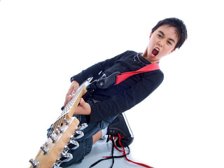 boy with electric guitar