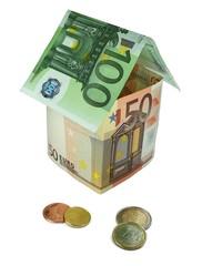 Geldhaus mit Münzen