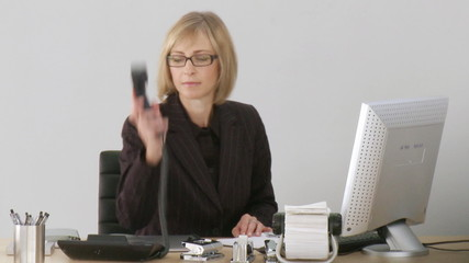 Smart businesswoman working on her desktop