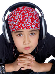 cute child with headphones