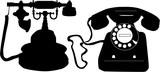 Retro phone - black icons, vector work