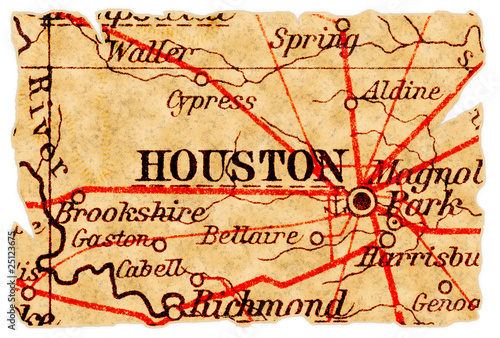 Foto Spatwand Texas Houston old map
