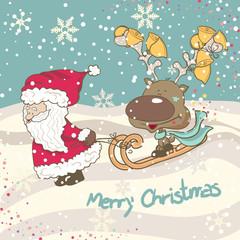 santa and reindeer sledging