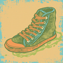 halftone background with sneakers
