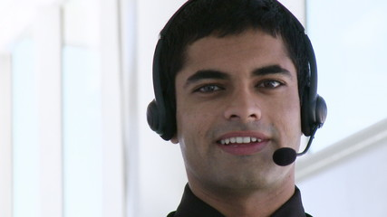 Hispanic Businessman with headphones