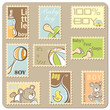 Baby boy annoucement card - collection of postal stamps