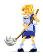 cartoon character housemaid with broom