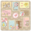 Baby girl annoucement card - collection of postal stamps